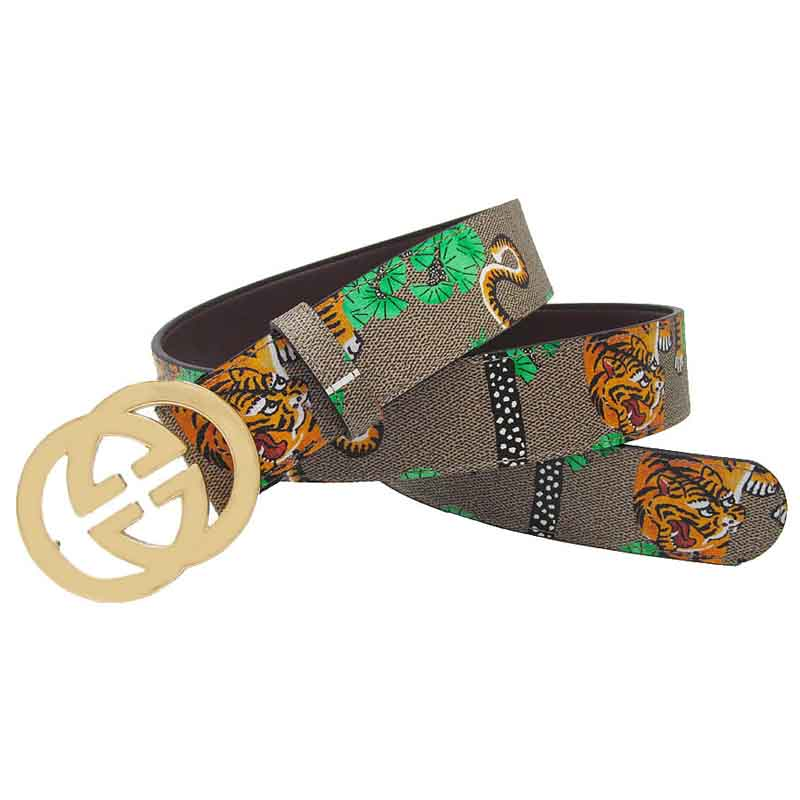 Western Man Tiger Print Leather   Belt   Fashion Golden G Buckle   Belt   Man Leisure Strap