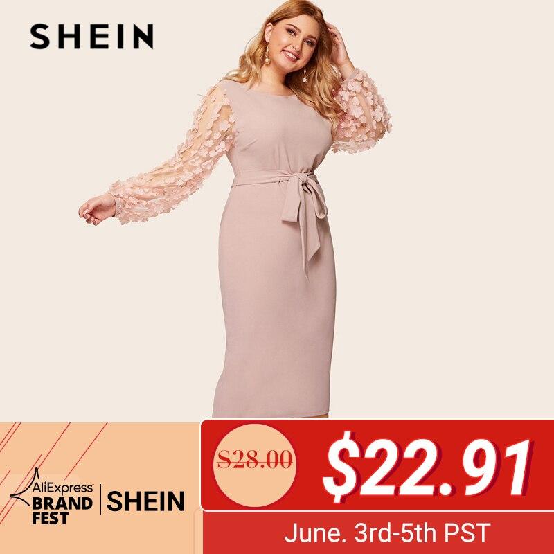 Шеин плюс размер розовый 3D аппликация сетка рукав платье-карандаш с поясом Dres 2019 женское романтическое элегантное платье с рукавом Бишоп с ...