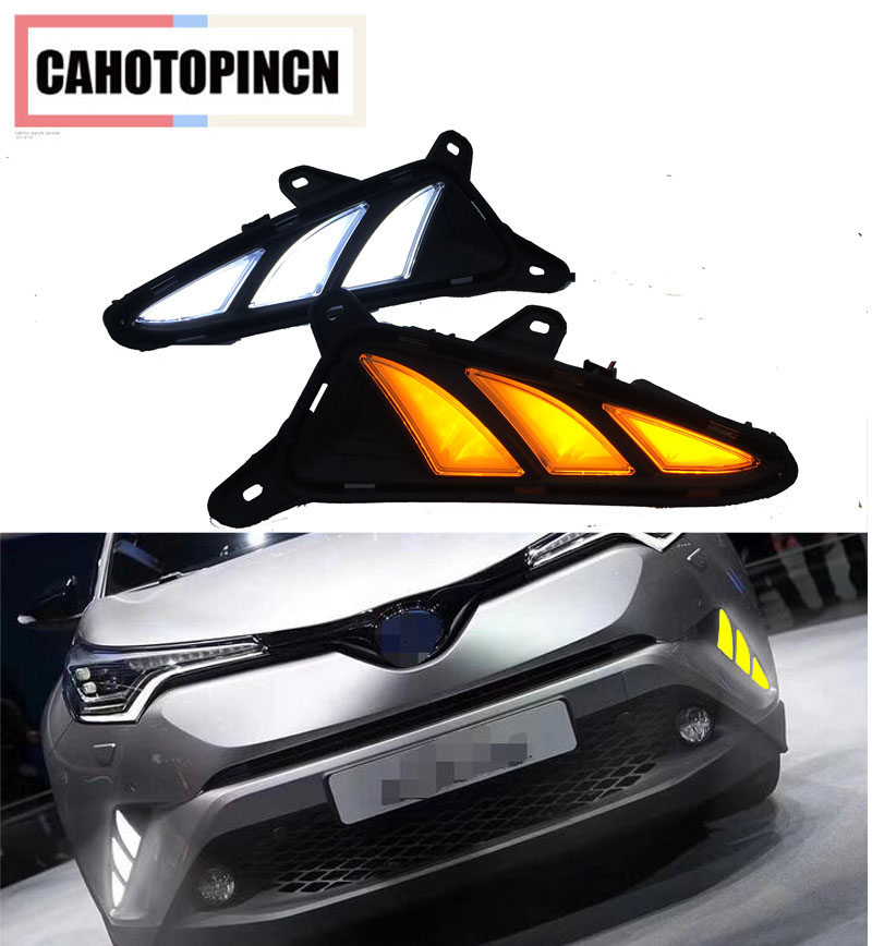 For Toyota C HR CHR 2016 2017 Yellow Turn Signal and dimming Style Relay Car DRL