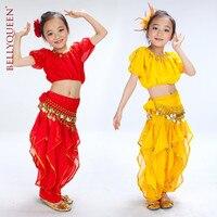 Hint Elbise Çocuk Çocuklar için Bütün Set (Kısa Kollu Üst + Döndür Fener + Kemer) Oryantal Dans Giyim takım elbise Hindistan Performans Giyim