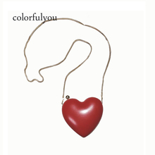 2cabf75b1434 2019 red Heart Shaped women handbag mini Evening Bags Chain PU leather Shoulder  Purse Day Clutches