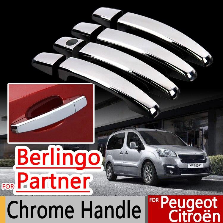 For Peugeot Partner Citroen Berlingo II 2008-2016 Chrome Handle Covers Trim Set for 4Door Accessories Stickers Car Styling Tepee цена