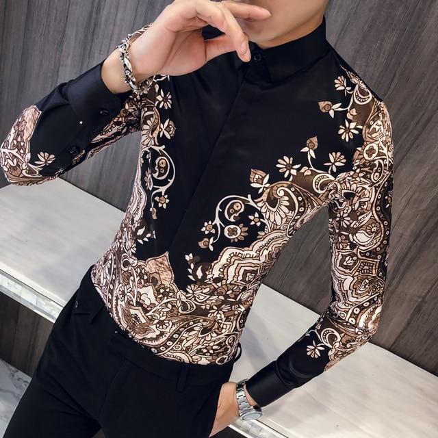 فاخر الملكي قميص الرجال عادية سليم تيشيرت ضيق بأكمام طويلة الرجال بيزلي طباعة قميص Camisa الاجتماعية الذكور مانغا لونجا حفلة موسيقية قميص