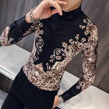 Camisa de Manga larga de lujo para hombre, Camisa con estampado de Cachemira, informal, entallada, para fiesta de graduación
