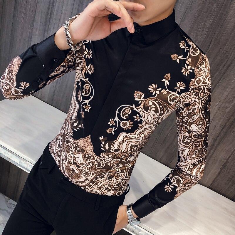 Camisa de impressão de manga longa masculina masculina camisa de manga longa masculina camisa de baile de formatura
