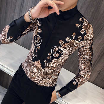 Luxury Royal Shirt Men Casual Slim Fit Long Sleeve Men Paisley Print Shirt Camisa Social Masculina Manga Longa Prom Party Shirt - DISCOUNT ITEM  46% OFF All Category