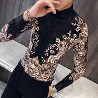 Luxus Königlichen Shirt Männer Casual Slim Fit Langarm Männer Paisley Druck Hemd Camisa Sozialen Masculina Manga Longa Prom Party hemd