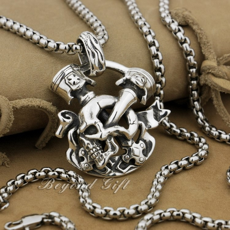 Huge Heavy 925 Sterling Silver Unique Skull Cross Mens Biker Pendant 9P008A(Necklace 24inch) skull cross bone solid 925 sterling silver mens biker pendant 8c010 necklace 24inch