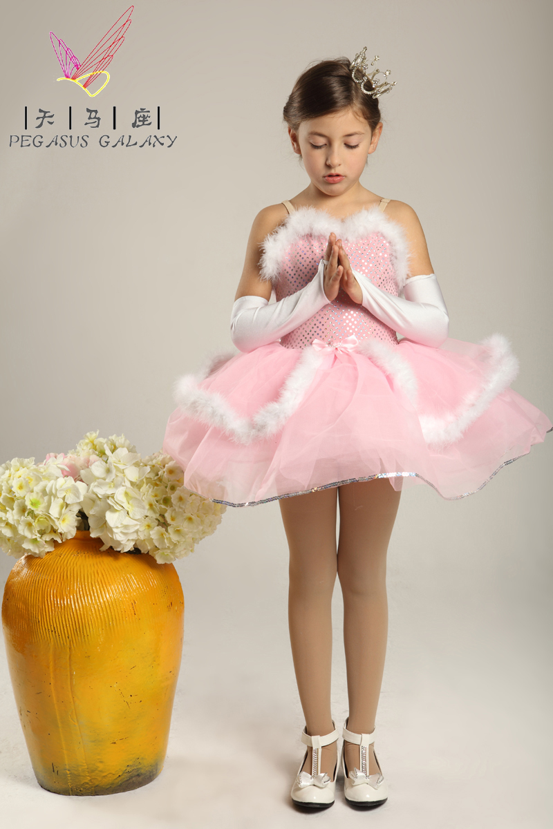 Pink Sequins Ballet Dress For Girls Feather Swan Lake ...