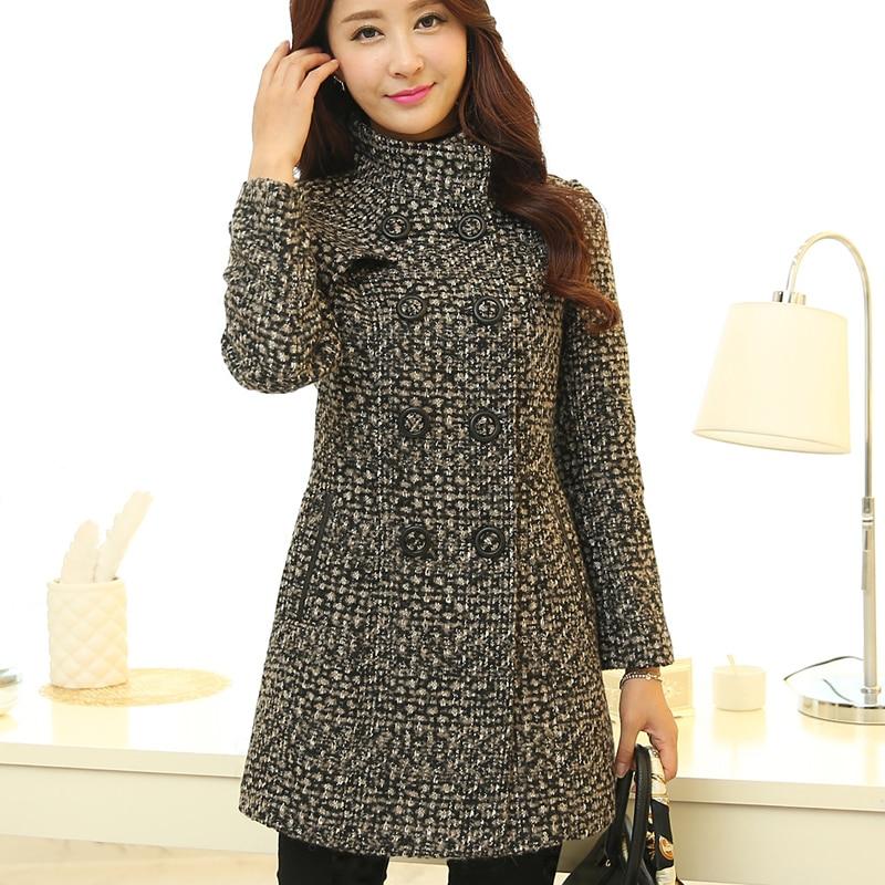 New Women's Wool Blends Coat Winter 2018 Autumn Fashion Elegant Mother Turtleneck Plaid Slim Long Tweed Woolen Outerwear Female 1