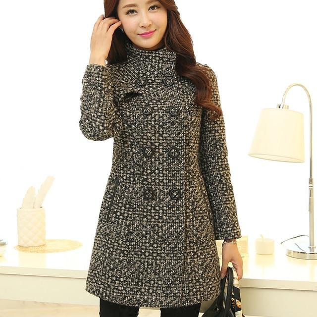 New Women's Wool Blends Coat Winter 2019 Autumn Fashion Elegant Mother Turtleneck Plaid Slim Long Tweed Woolen Outerwear Female 2