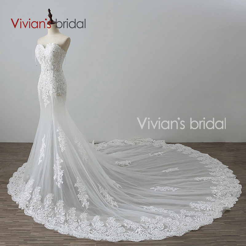 Vivian\'s Bridal Beaded Sequin Lace Sweetheart Mermaid Wedding Dress ...
