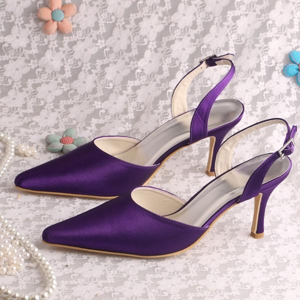 ФОТО Wedopus MW050 Women 2016 Fashion Pointed Toe Purple Satin for Wedding in Summer
