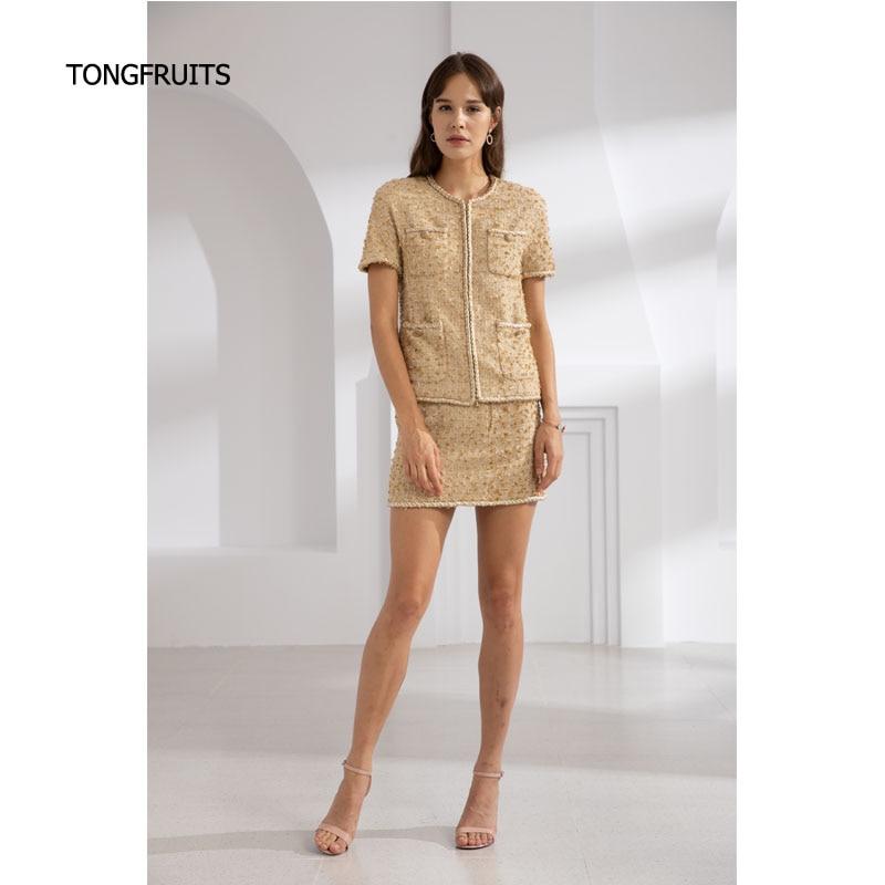 Or et jaune mode costume décontracté Piste costume femme chemise à manches Courtes avec demi-jupe