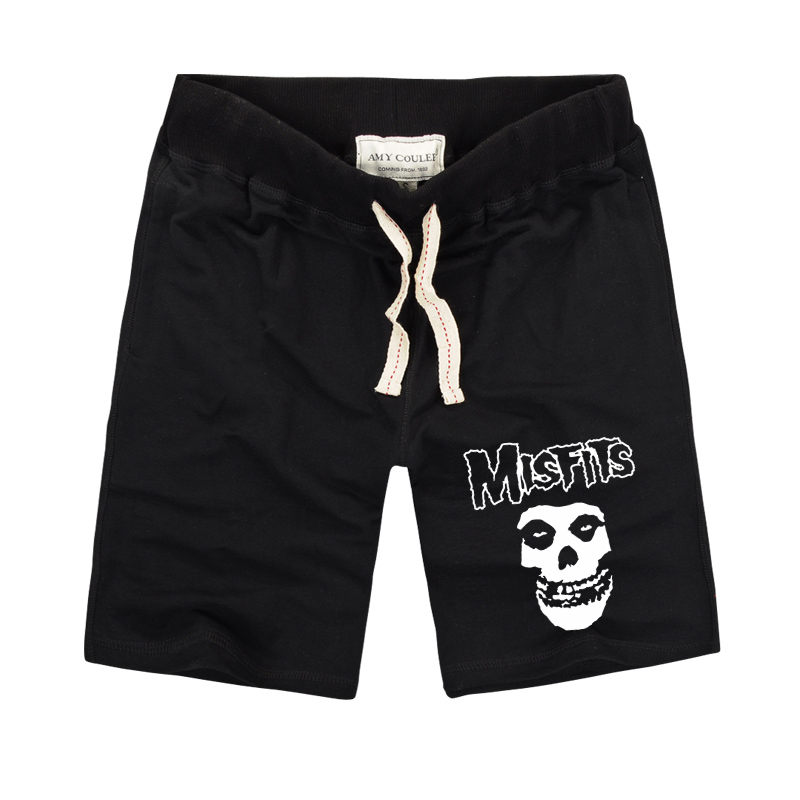 The MISFITS shorts High Quality 2018 Summer Fashion Skull Printed Mens Casual fitness Shorts Cotton Short Pants Plus Size S-3XL