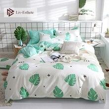 Liv-Esthete Fashion Banana Leaf Bedding Set Soft Duvet Cover Flat Sheet Bedspread Single Double Queen King Adult Kids Bed Linen