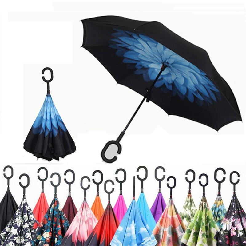 Parapluie pliant Double couche inversé coupe-vent pluie voiture parapluies pour femmes S1004