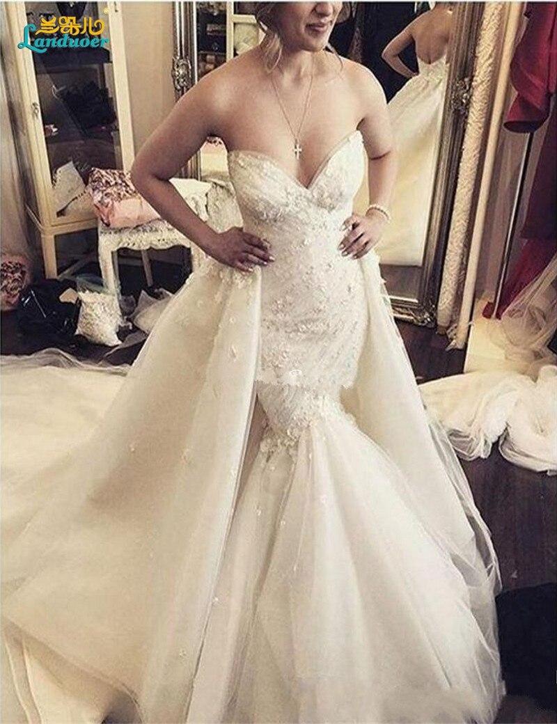 Sexy Spitze Appliques Schatz nixe Hochzeitskleider Getrennt fisch Zug Robe  De Mariage 9 Abnehmbare Rock Hochzeitskleid