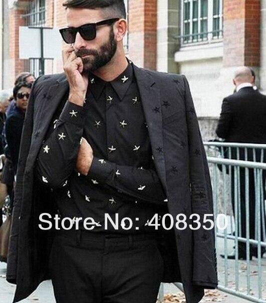 2015 Men\'s Euro American Fashion Metal Stars Rivets Long Sleeve Dress Shirt Casual Black Cool Party Masculinas Camiseta Quality  (5).jpg