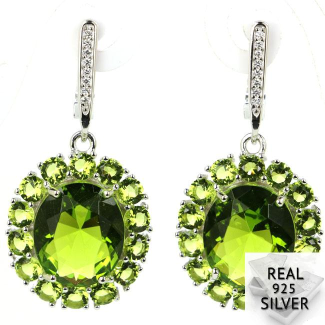 9.5g Real 925 Solid Sterling Silver Deluxe Green Peridot CZ Man Engagement Earrings 40x19mm