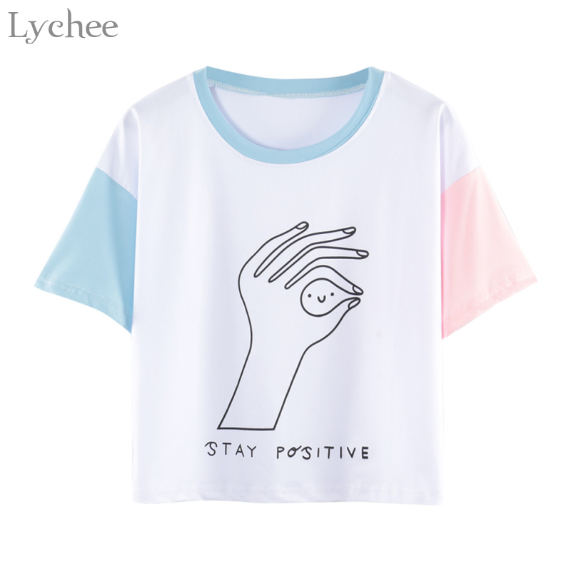 Lychee Harajuku Summer Women Crop Top T Shirt Hand Color Letter Print Patchwork Short Sleeve T-shirt Tee Top