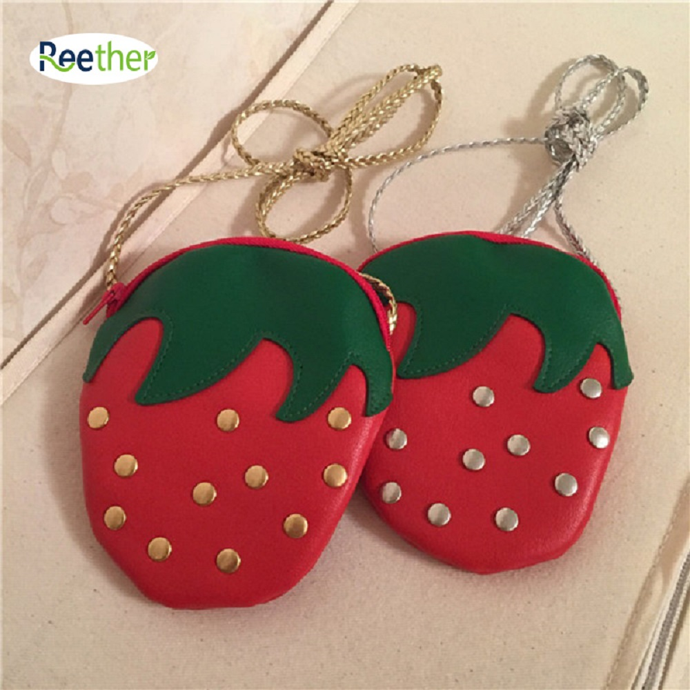 Reether Girls Coin Purse PU Shoulder Bags Childrens Cute Snack Package Rivets Strawberry Pouch Wallet Decoration Gifts