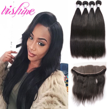 4 Bundles with Ear to Ear Lace frontal Closure Virgin Peruvian Straight Hair With Lace Frontal  Straight Human Hair With Frontal