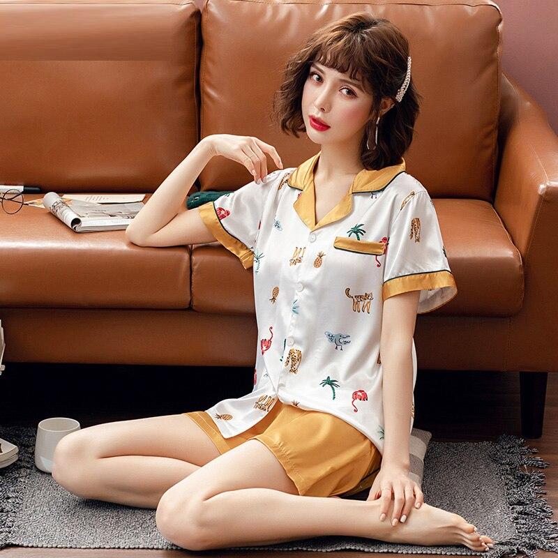 Yidanna Summer Silk Women Sleep Clothing Short Sleeved Cute   Pajamas     Set   Casual Print Sleepwear Lady Button Nightwear Female Suit