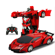 лучшая цена RC Car Transformation Robots Sports Vehicle Model Robots Toys Cool Deformation Car Kids Toys Gifts For Boys Birthday Gifts