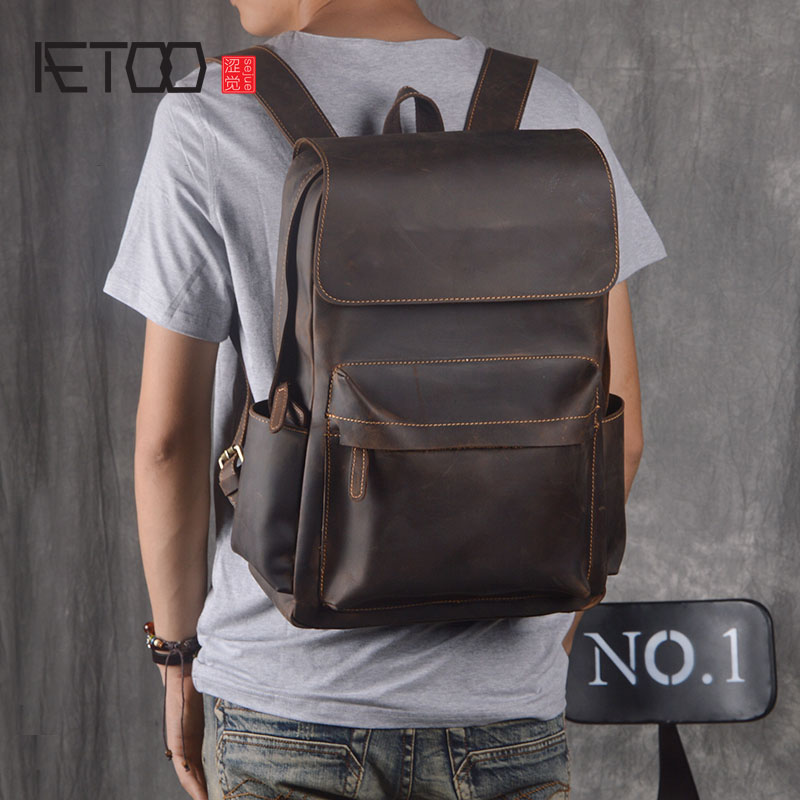 AETOO Original backpack men leather casual travel backpack lady first layer leather handmade