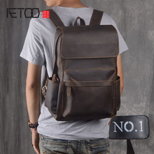 AETOO Original backpack men leather casual travel backpack lady first layer leather handmade aetoo leather leather shoulder bag men and women backpack original hand rubbing backpack casual retro backpack tannage
