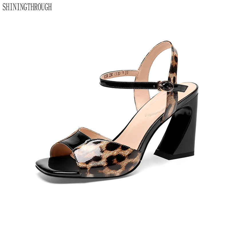 Leopard Genuine Leather women Sandals Ladies high heels shoes woman Fashion buckle office ladies dress shoes womanLeopard Genuine Leather women Sandals Ladies high heels shoes woman Fashion buckle office ladies dress shoes woman