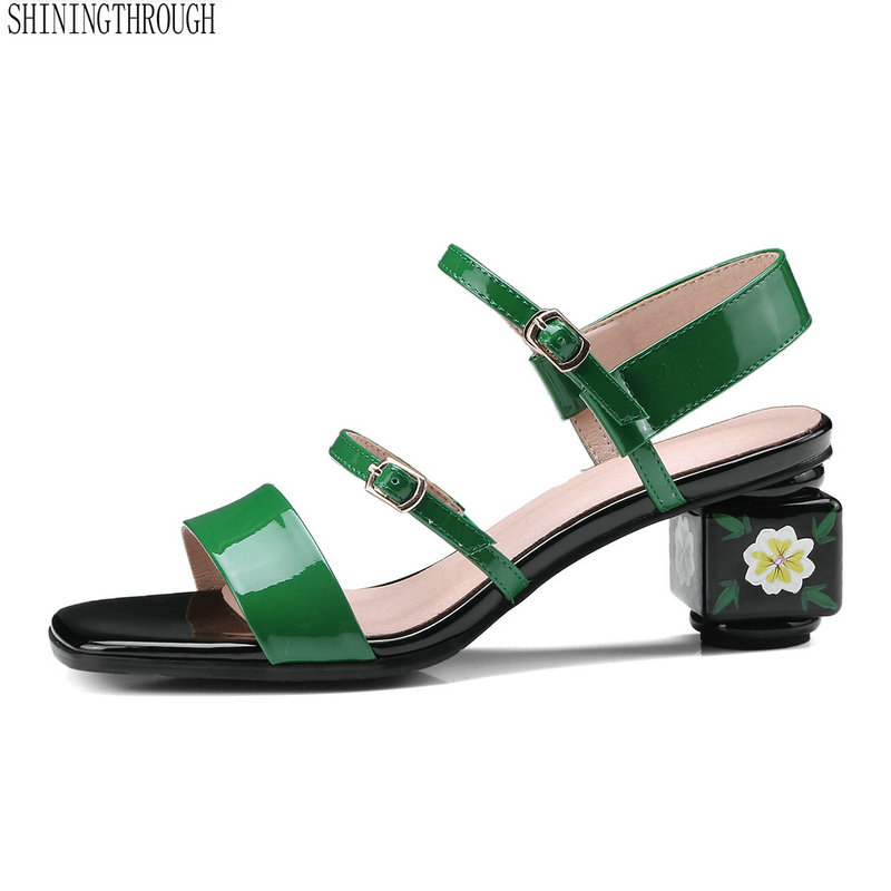 Women genuine leather Sandals strange high heels shoes woman black green buckle casual shoes woman ladies sandals size 34-43 эра настольный светильник ne 301 e27 15w or