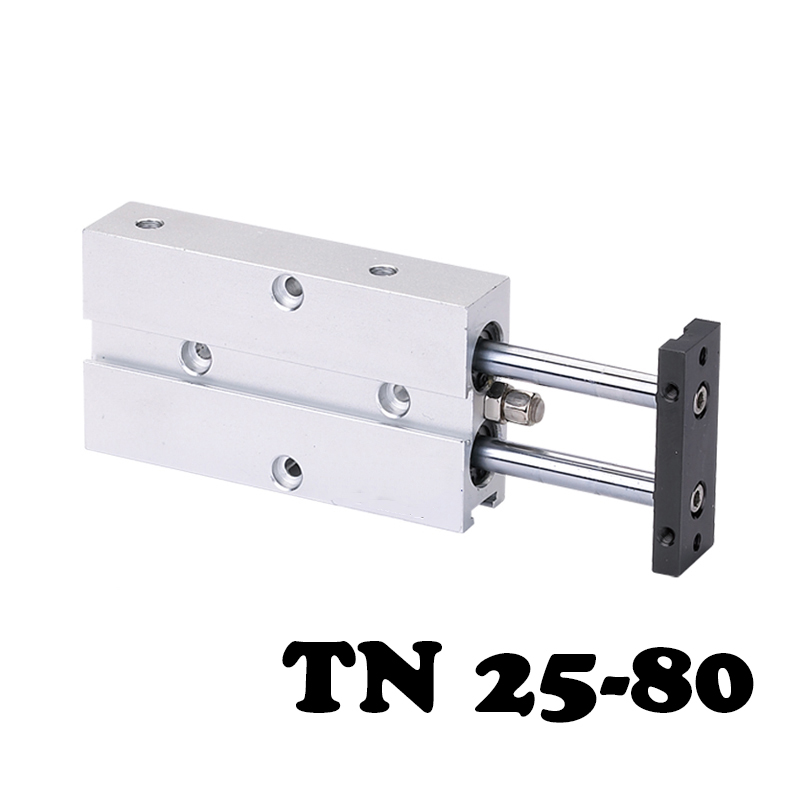 TN25*80 Two-axis double bar cylinder cylinder Aluminum Alloy Pneumatic Cylinder 25mm Bore 80mm Stroke Dual Rod Air Cylinder