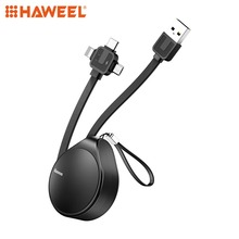 HAWEEL 1.5m 1.5A Waterdrop Retractable Fast Charging TPE Cord 3 in 1 Micro USB + 8 Pin + Type-C Charge Data Syn Cable  For Phone usams u gee series 8 pin and micro 2 in 1 charge cable white