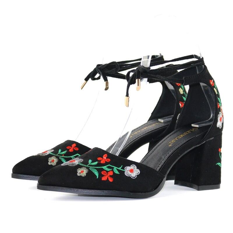 D'été Pompes Black Bride Plus Chaussures Femme Hauts À Cheville Femelle Femmes Taille apricot De La Talons Broder Mariage Marque Épaisse d4WqP