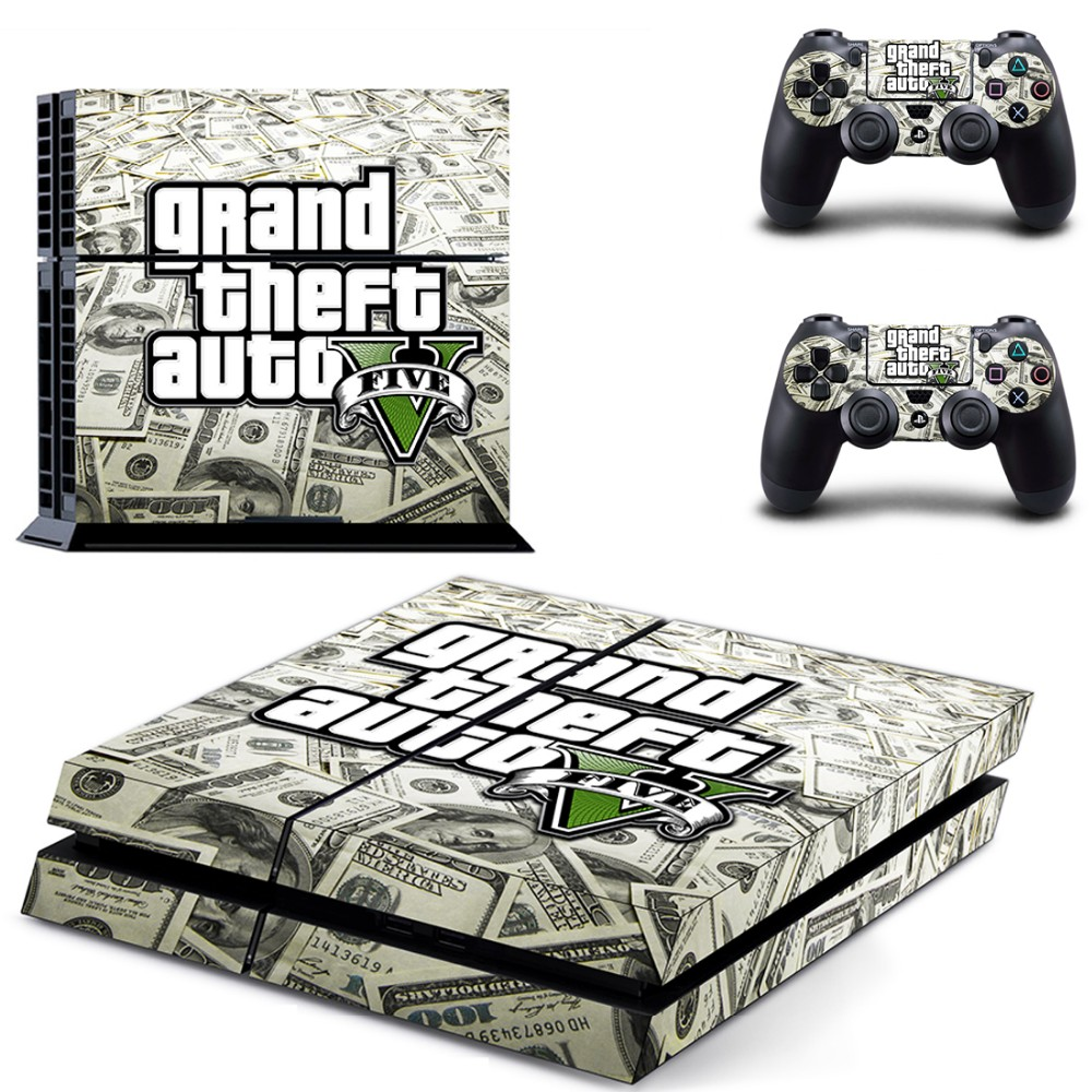 GTA 5 New Design Vinyl Decal Skin PS4 Console Cover For Playstaion 4 Console Skin Stickers+2Pcs Controller Protective Skins