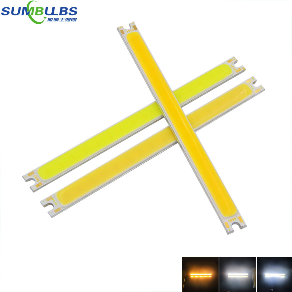 [Sumbulbs] 5W COB Bulb Strip LED Light Source DC 12V Warm White Pure White DIY 10CM LED Lamp Car Lighting 500LM 100x8MM