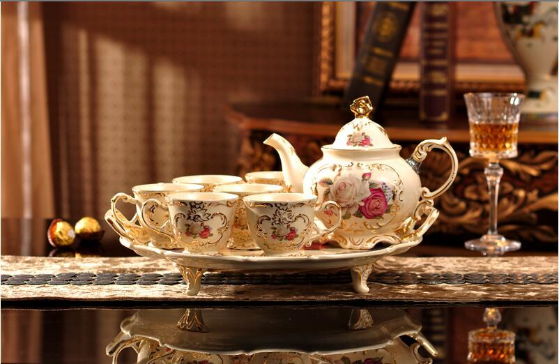 Ensemble de café en céramique haut de gamme ensemble de thé de style européen tasses à café en porcelaine et plateau livraison gratuite