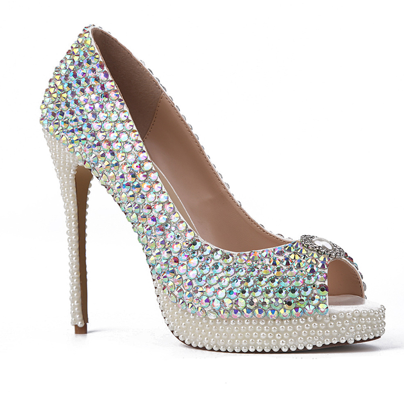 a0614494d AB Color Crystal Wedding Shoes New Handmade White Pearl Heels Peep Toe  Platform Bridal Shoes Gorgeous Graduation Party Prom Pump-in Women's Pumps  from Shoes ...