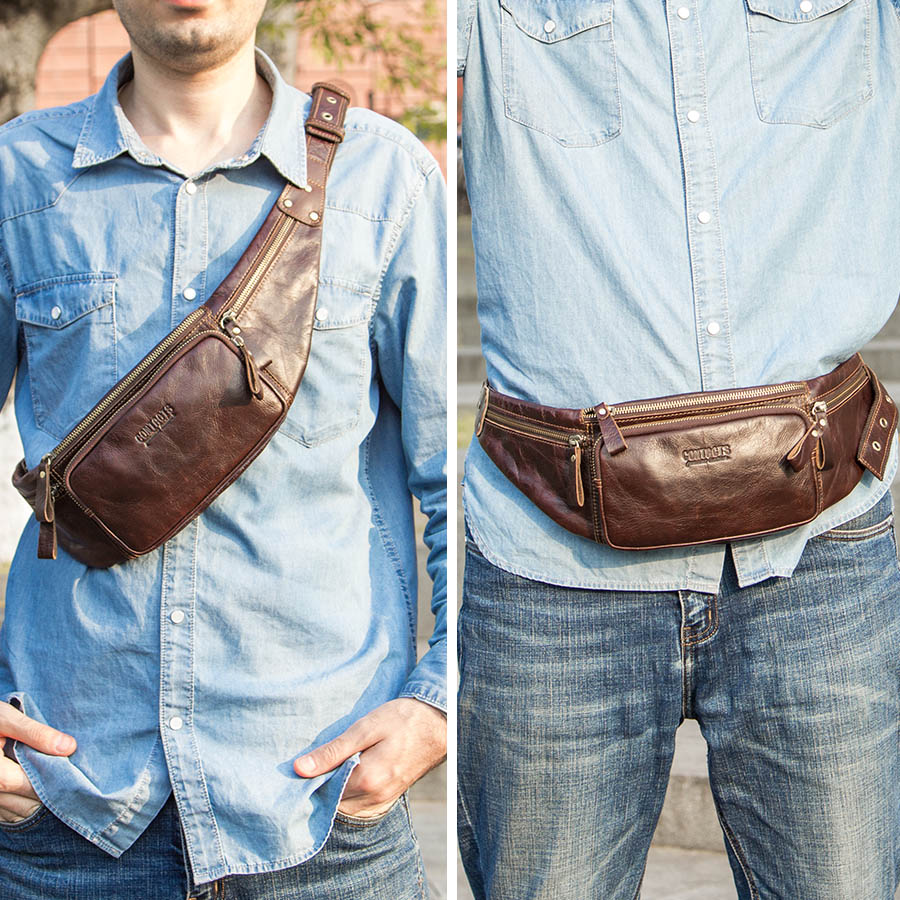 CONTACT'S cow leather men waist bag new casual small fanny pack male waist pack for cell phone and credit cards travel chest bag 4