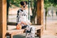 Cute Cat Black and White Japanese Kimono Dress, Summer Festival Traditional Kimono Bathrobe Suit