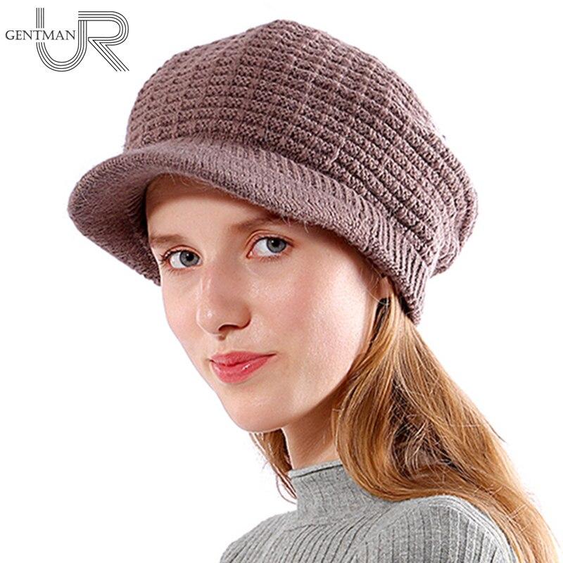New Winter Hats For Women Fashion Skullies Beanie Hats New Women's Hat High Quality Walls Plaid Design Rabbit Fur Knitted Cap