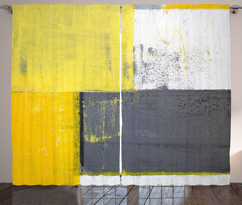 Grey and yellow curtains street art modern grunge abstract - Grey and yellow living room curtains ...