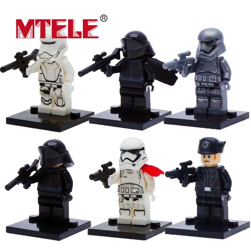 MTELE Brand 6 pcs/lot First Order Kylo Ren Soldier Star Wars The Force Awakens Figure Building Blocks Compatible with lego single sale star wars the force awakens chewbacca kylo ren han solo super heroes building blocks bricks toys for children x0104