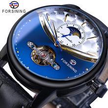 Forsining רויאל כחול Tourbillon אוטומטי שעון גברים Moonphase שחור אמיתי עור חגורות מכאני שעונים Otomatik Erkek Saat
