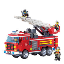 Enlighten Three Bridge Fire Engines Rescue Truck Building Blocks Sets Bricks Educational Toys for Children Gift