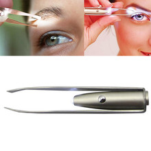 LED lights illuminated clip stainless steel eyebrow plucking eyebrow t