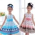 Vestidos das meninas bonitos bow belt vestido para férias bolha do partido do pavão vestidos de roupas princesa cinto arco circle vestido sem mangas