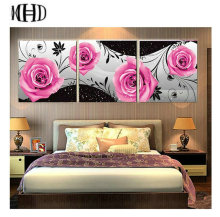 Home Garden - Arts Crafts - MHD Set of 3 Pink Rose Icons Diamond Embroidery Full 5D DIY Triple Diamond Painting Flower Cross Stitch Sewing Decorative Paper